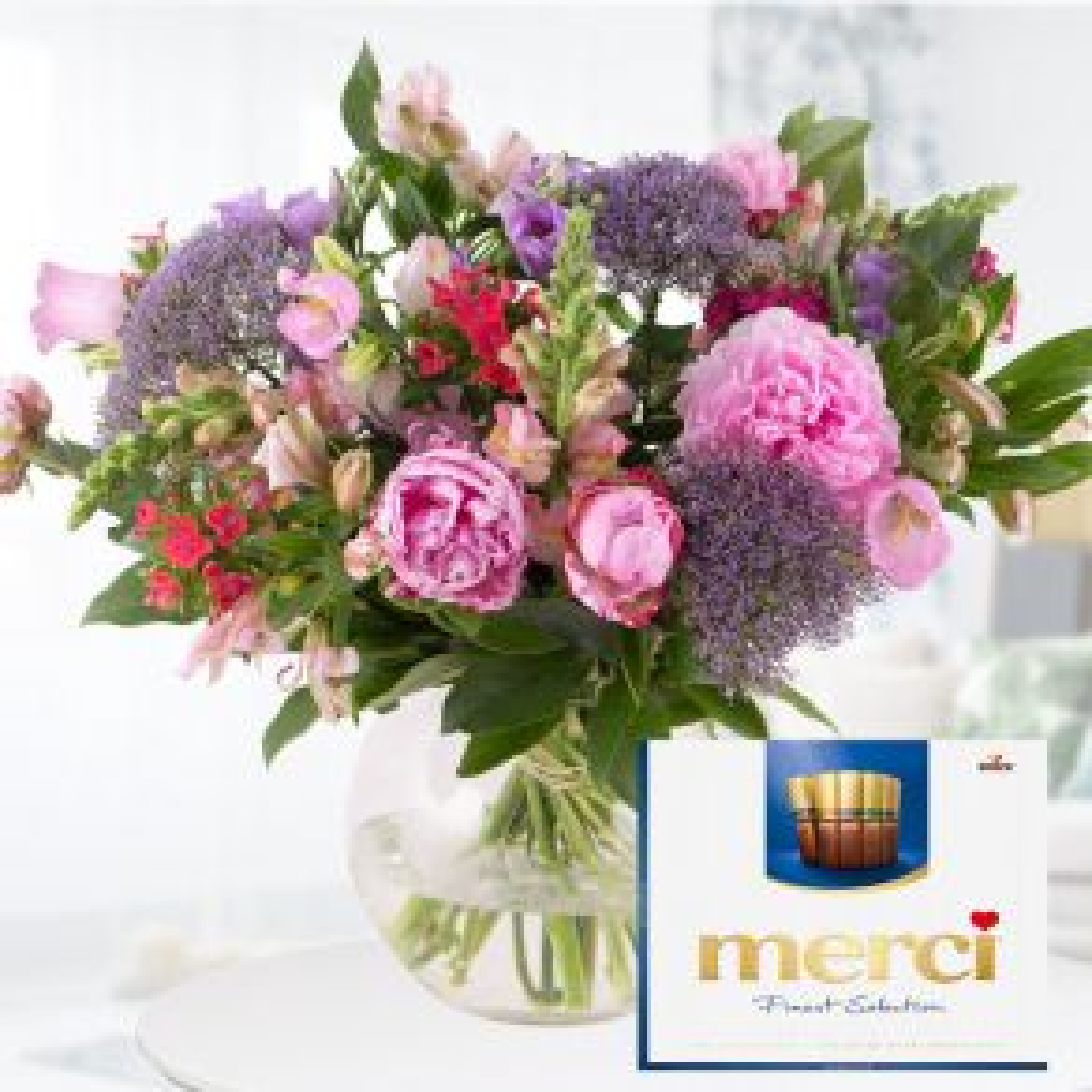 Blumenstrauß Sommergruß + Merci Finest Selection