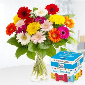Bunte Gerbera + Schokowürfel Happy Birthday