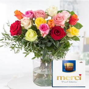 15 Bunte Rosen + Merci Finest Selection (50cm)