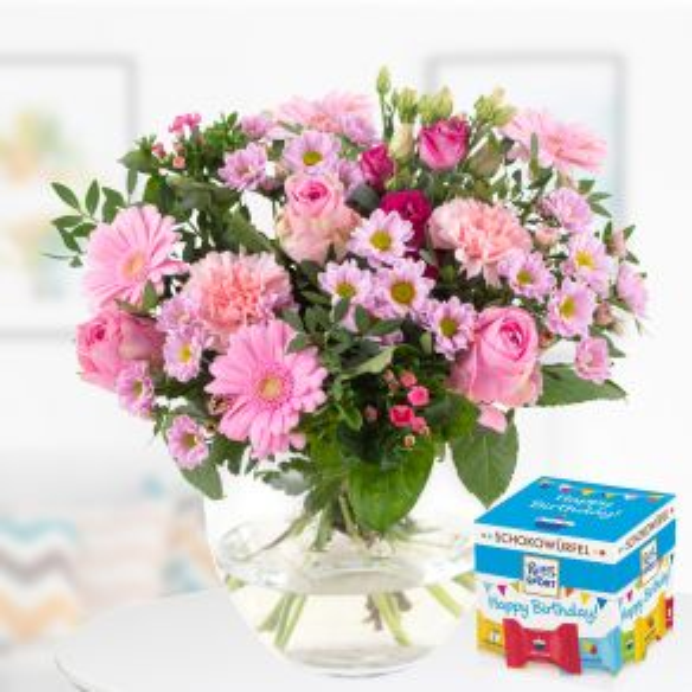 Blumenstrauß Flora Medium + Schokowürfel Happy Birthday