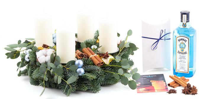Adventskranz blau mit Bombay inklusive Glühgin Rezept